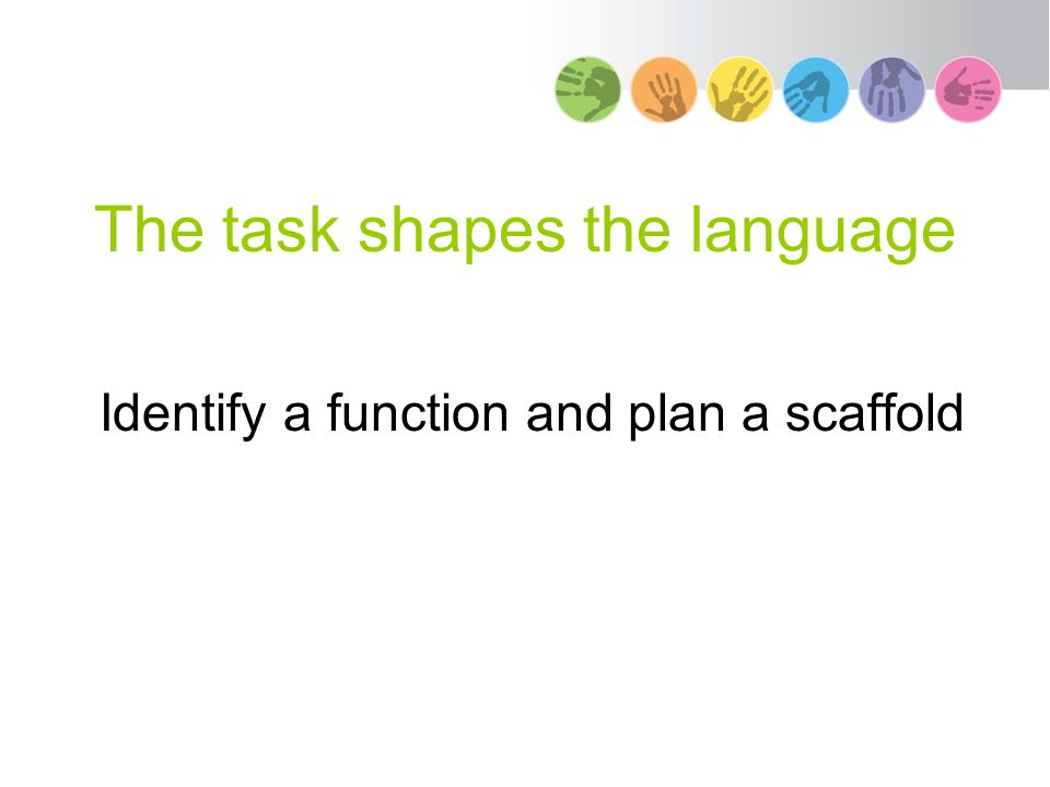 The task shapes the language Identify a function and plan a scaffold