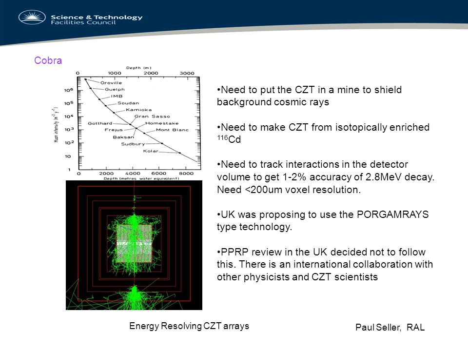 Paul Seller, RAL Energy Resolving CZT arrays Cobra Need to put the CZT in a mine to shield background cosmic rays Need to make CZT from isotopically e
