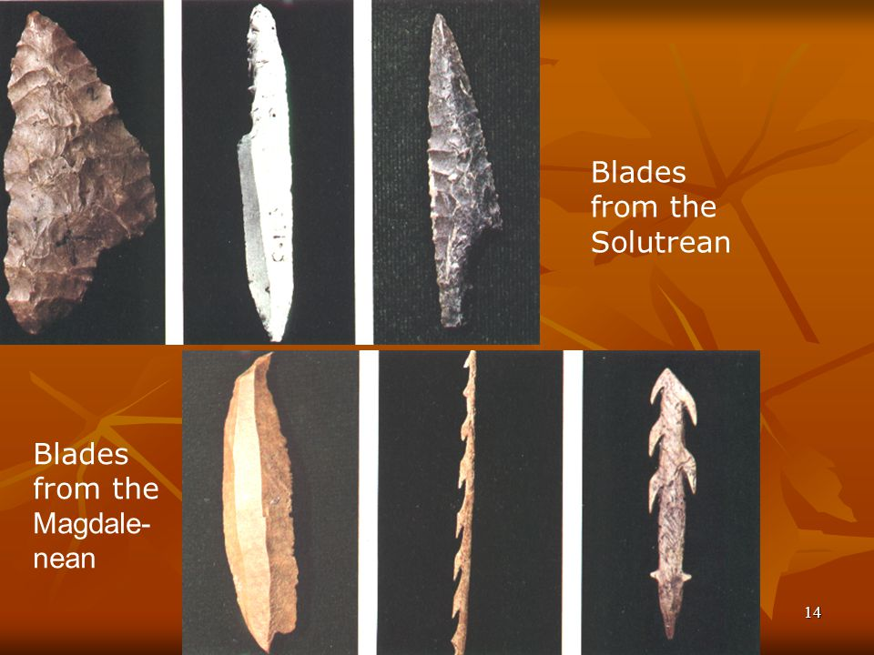 Wolfgang Wildgen Evolutionary Pragmatics 14 Blades from the Solutrean Blades from the Magdale- nean