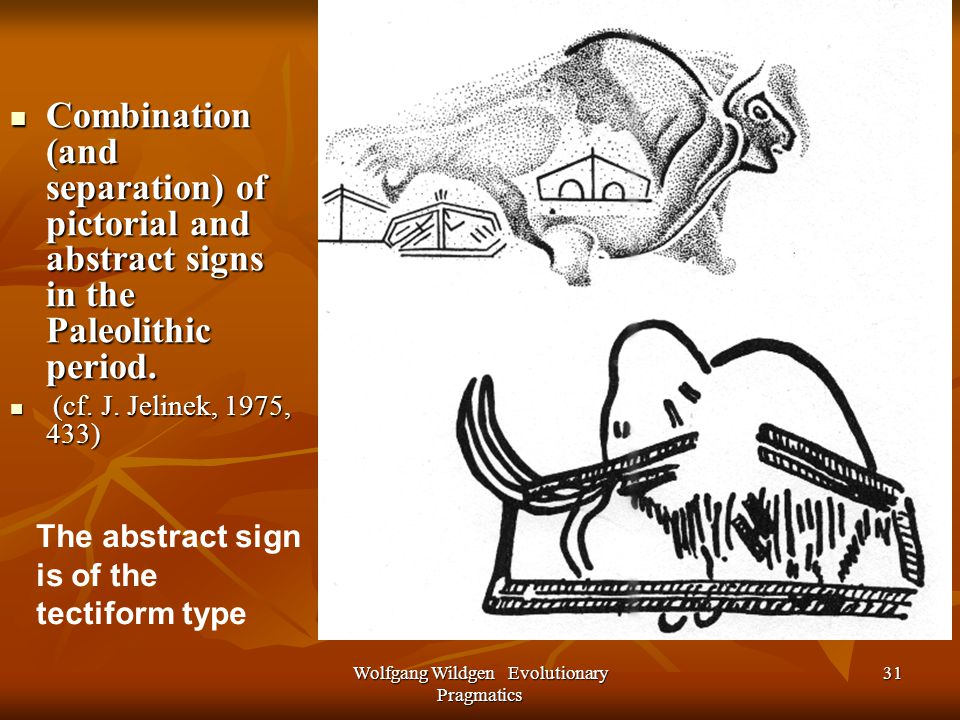Wolfgang Wildgen Evolutionary Pragmatics 31 Combination (and separation) of pictorial and abstract signs in the Paleolithic period.