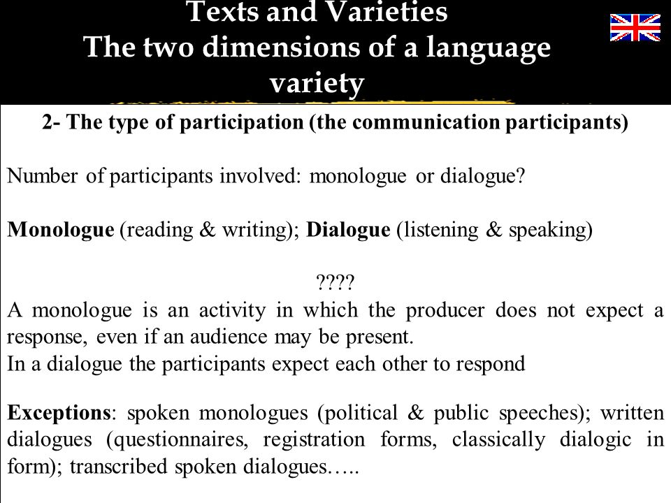 Texts and Varieties The two dimensions of a language variety 1- MEDIUM OF COMMUNICATION Speech and writing – spoken English and written English Obviou