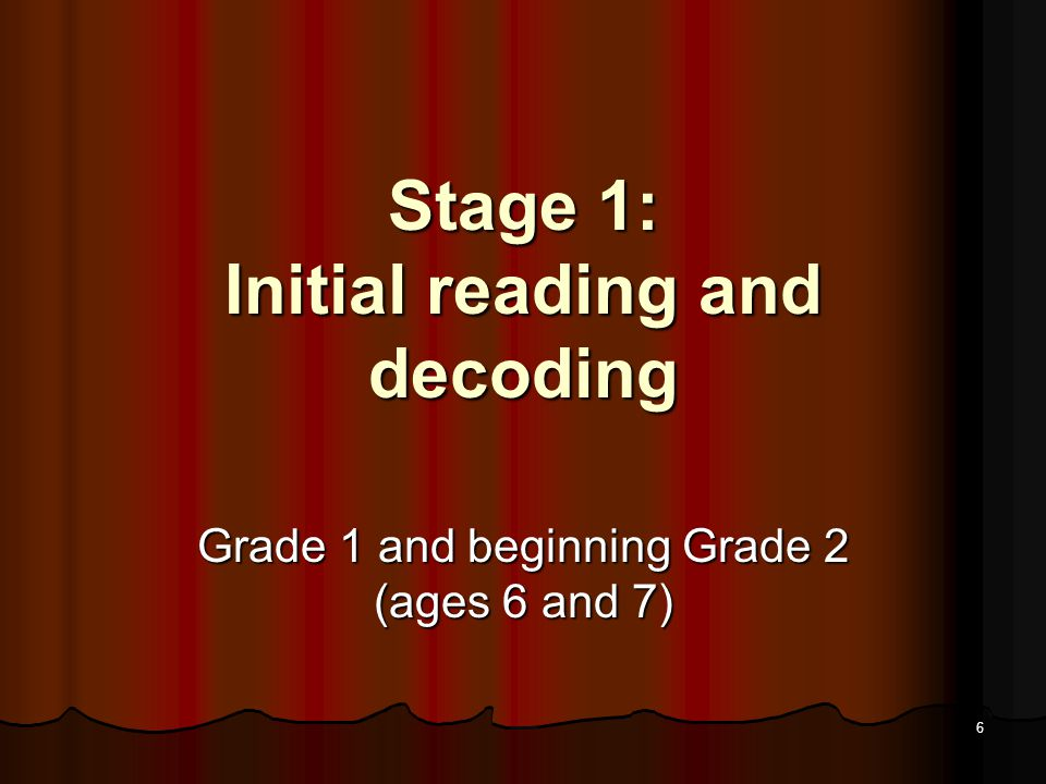 5 Stage 0 Relationship of Reading to Listening Most can understand children's picture books and stories read to them Most can understand children's picture books and stories read to them Can understand thousands of the words they hear by age 6, but can read few if any of them Can understand thousands of the words they hear by age 6, but can read few if any of them