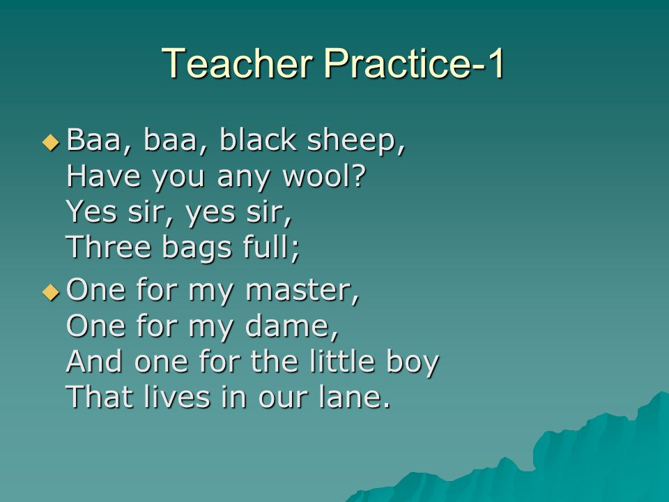 Teacher Practice-Directions  Six groups of teachers will be assigned a nursery rhyme and grade level and create a short lesson that includes the following:  Goals  Objectives  3 activities  Short assessment