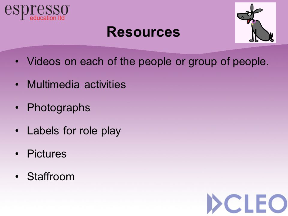 Videos on each of the people or group of people. Multimedia activities Photographs Labels for role play Pictures Staffroom Resources