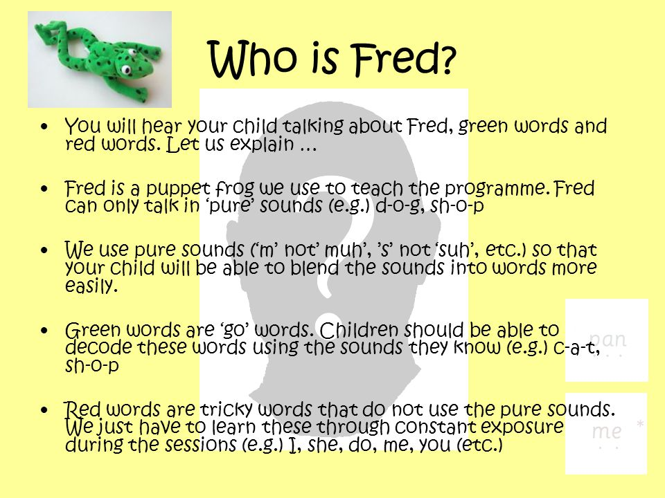 Who is Fred. You will hear your child talking about Fred, green words and red words.