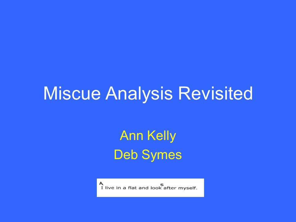 Miscue Analysis Revisited Ann Kelly Deb Symes
