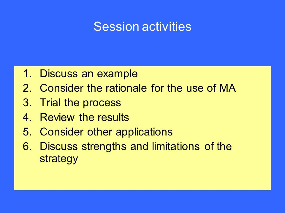 Session activities 1.Discuss an example 2.Consider the rationale for the use of MA 3.Trial the process 4.Review the results 5.Consider other applications 6.Discuss strengths and limitations of the strategy
