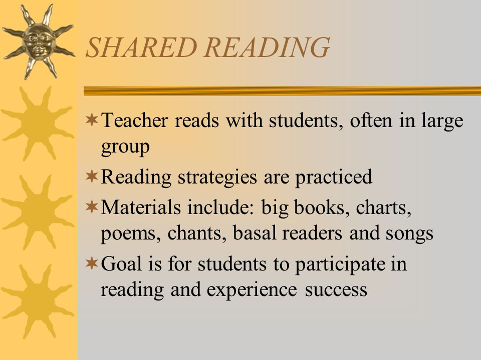 SHARED READING  Teacher reads with students, often in large group  Reading strategies are practiced  Materials include: big books, charts, poems, chants, basal readers and songs  Goal is for students to participate in reading and experience success