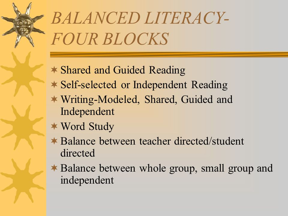 BALANCED LITERACY- FOUR BLOCKS  Shared and Guided Reading  Self-selected or Independent Reading  Writing-Modeled, Shared, Guided and Independent  Word Study  Balance between teacher directed/student directed  Balance between whole group, small group and independent