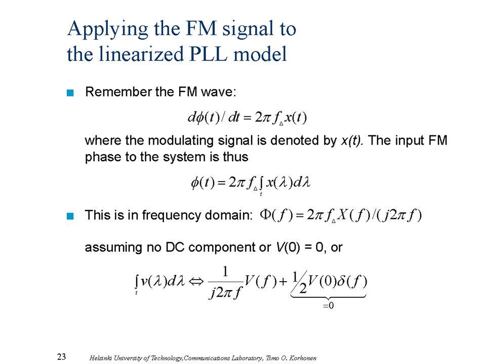 23 Helsinki University of Technology,Communications Laboratory, Timo O. Korhonen Applying the FM signal to the linearized PLL model n Remember the FM