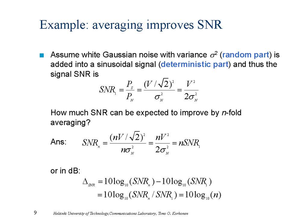 9 Helsinki University of Technology,Communications Laboratory, Timo O. Korhonen Example: averaging improves SNR Assume white Gaussian noise with varia