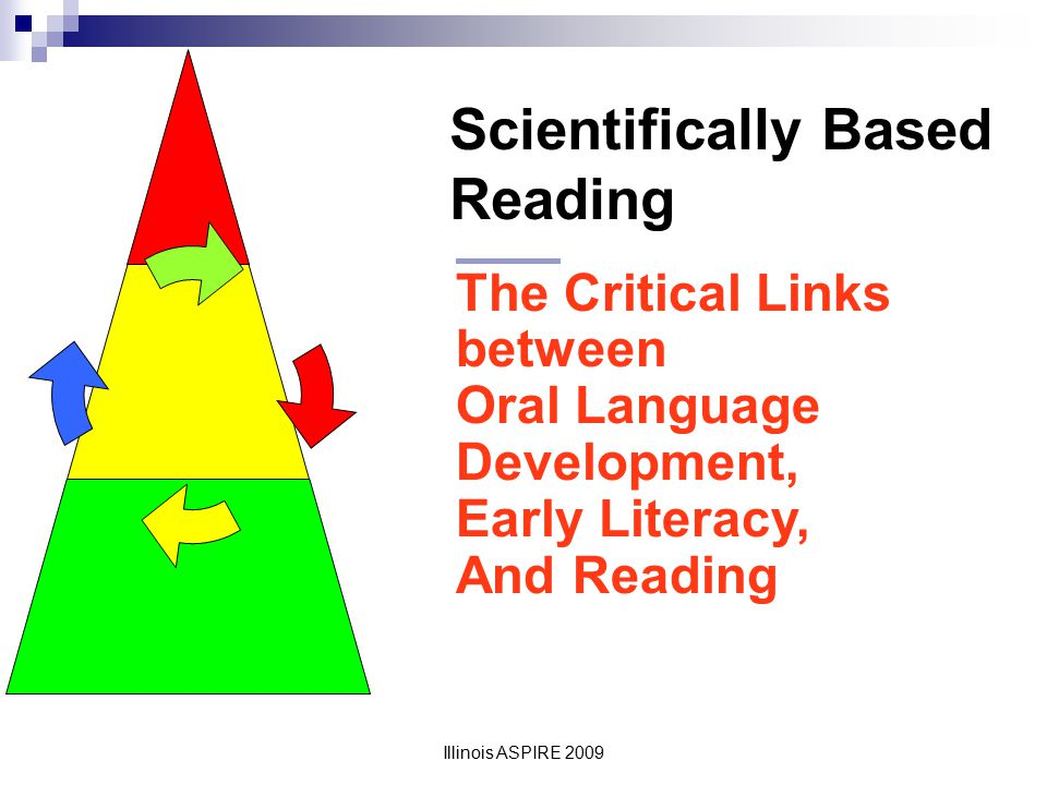 Illinois ASPIRE 2009 Houghton Mifflin: Instructional Framework Foundations for learning to read: oral language, knowledge of letter names, phonemic awareness and concepts of print Decoding Skills: phonics/sequential decoding, analogy, context and instant word recognition Fluency Texts for reading instruction Reading comprehension: vocabulary and background knowledge, strategic reading Writing, spelling and grammar Motivation, independent reading and writing, home connections