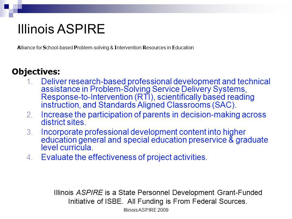 Illinois ASPIRE 2009 Objectives: 1.