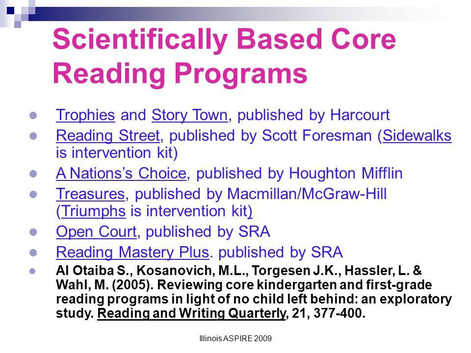 Illinois ASPIRE 2009 Reading Mastery KindergartenFirst GradeSecond GradeThird Grade Phonemic Awareness95%100% Phonics86%93%81%100% Fluency84%100%83% Vocabulary Comprehension TOTAL89%90%89%90% High Priority Items KindergartenFirst GradeSecond GradeThird Grade Phonemic Awareness94%100% Phonics75%95%90%84% Fluency75%92%100% Vocabulary Comprehension TOTAL84% 90%89% Discretionary Items KindergartenFirst GradeSecond GradeThird Grade TOTAL90% 55% Design Features