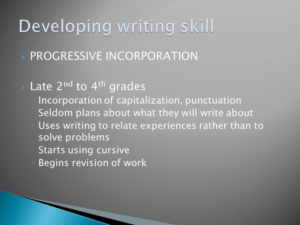  PROGRESSIVE INCORPORATION  Late 2 nd to 4 th grades ◦ Incorporation of capitalization, punctuation ◦ Seldom plans about what they will write about