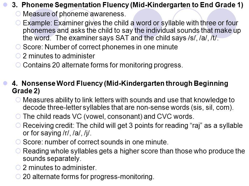 3. Phoneme Segmentation Fluency (Mid-Kindergarten to End Grade 1)  Measure of phoneme awareness.