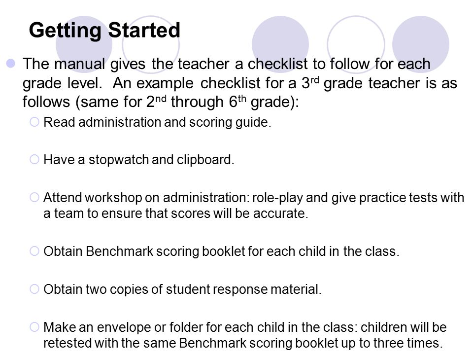 Getting Started The manual gives the teacher a checklist to follow for each grade level.