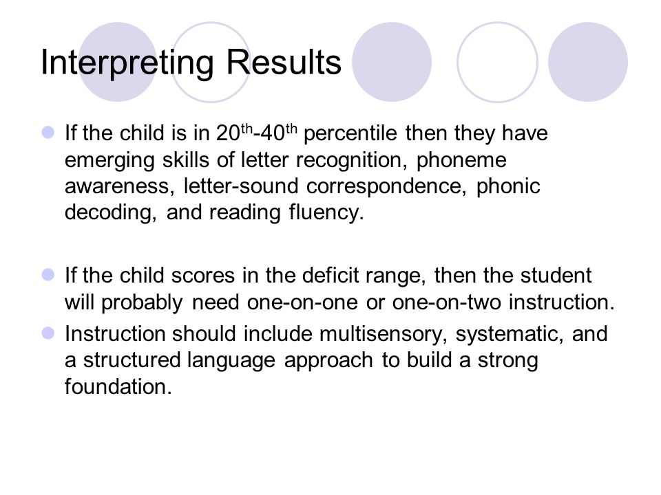 Interpreting Results If the child is in 20 th -40 th percentile then they have emerging skills of letter recognition, phoneme awareness, letter-sound correspondence, phonic decoding, and reading fluency.