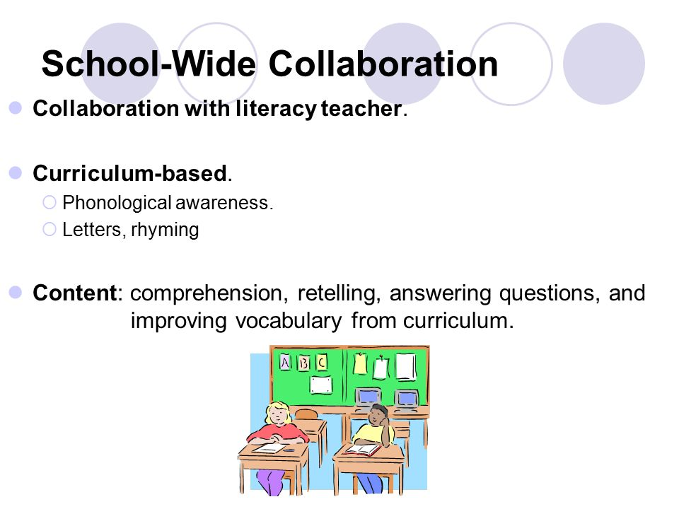 School-Wide Collaboration Collaboration with literacy teacher.