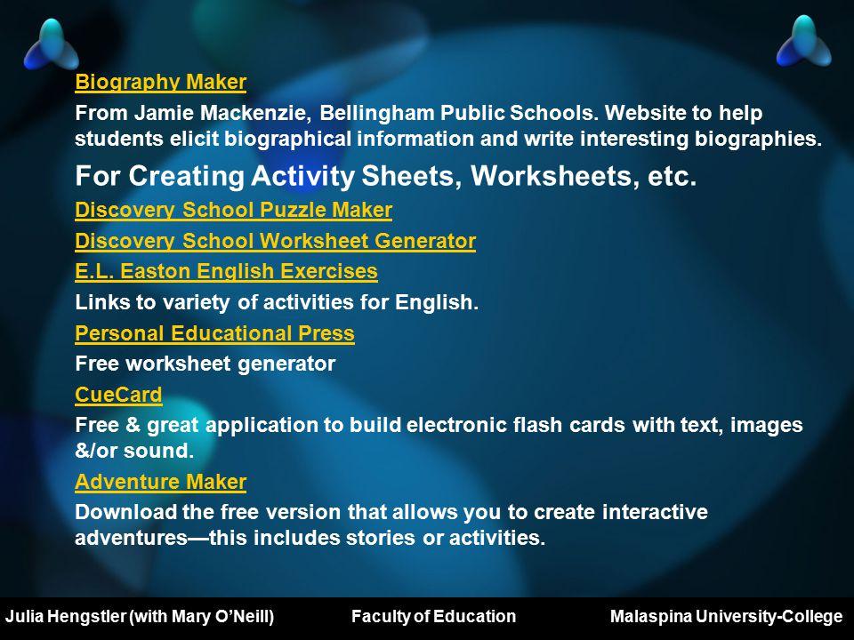 Mary O'Neill Major Project Prospectus DL503 Royal Roads University Biography Maker From Jamie Mackenzie, Bellingham Public Schools.
