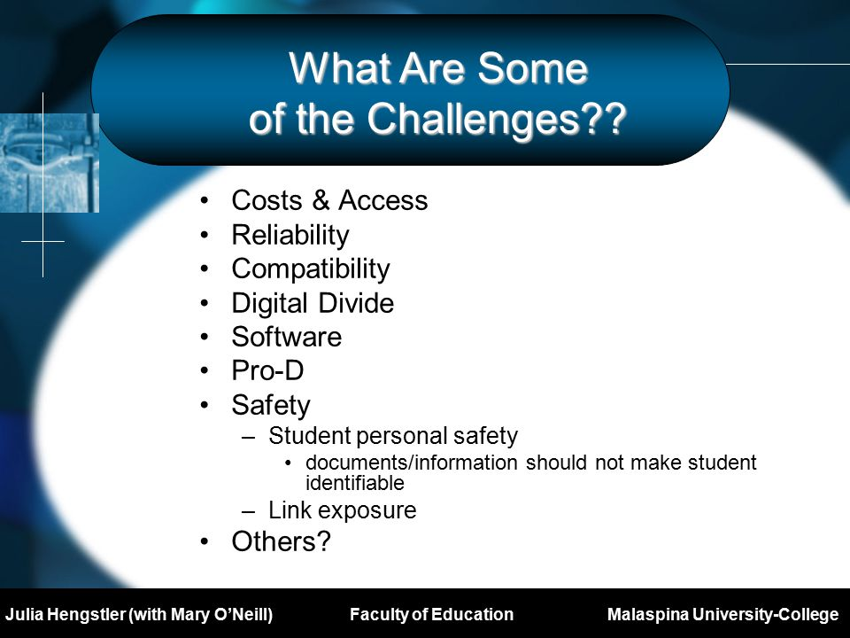 Mary O'Neill Major Project Prospectus DL503 Royal Roads University What Are Some of the Challenges .