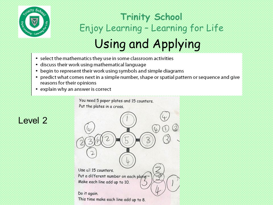 Trinity School Enjoy Learning – Learning for Life Using and Applying Level 2