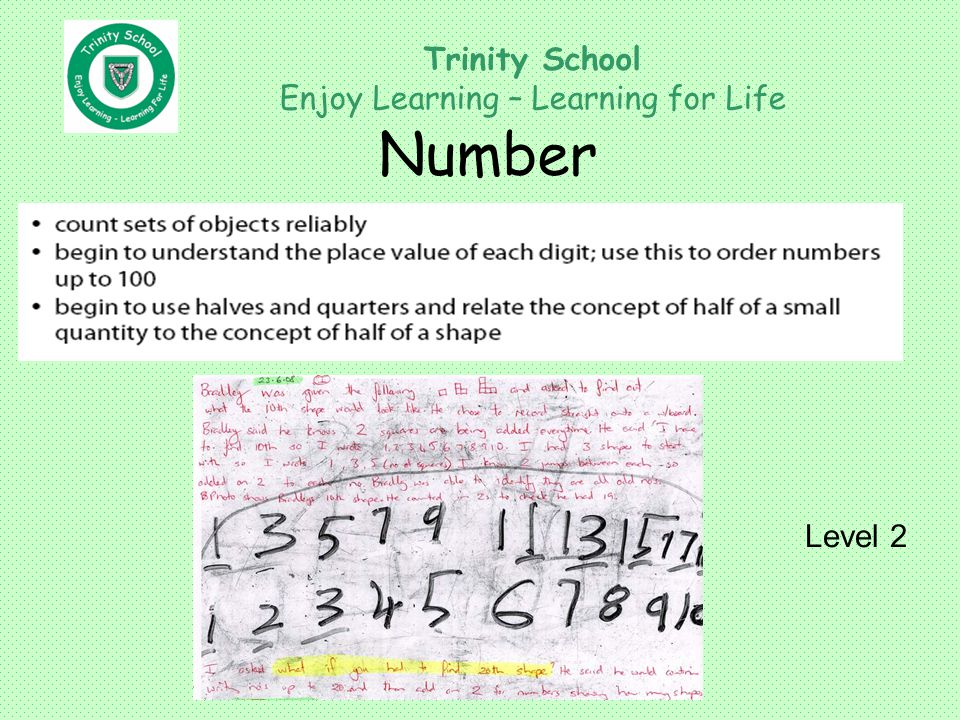 Trinity School Enjoy Learning – Learning for Life Number Level 2