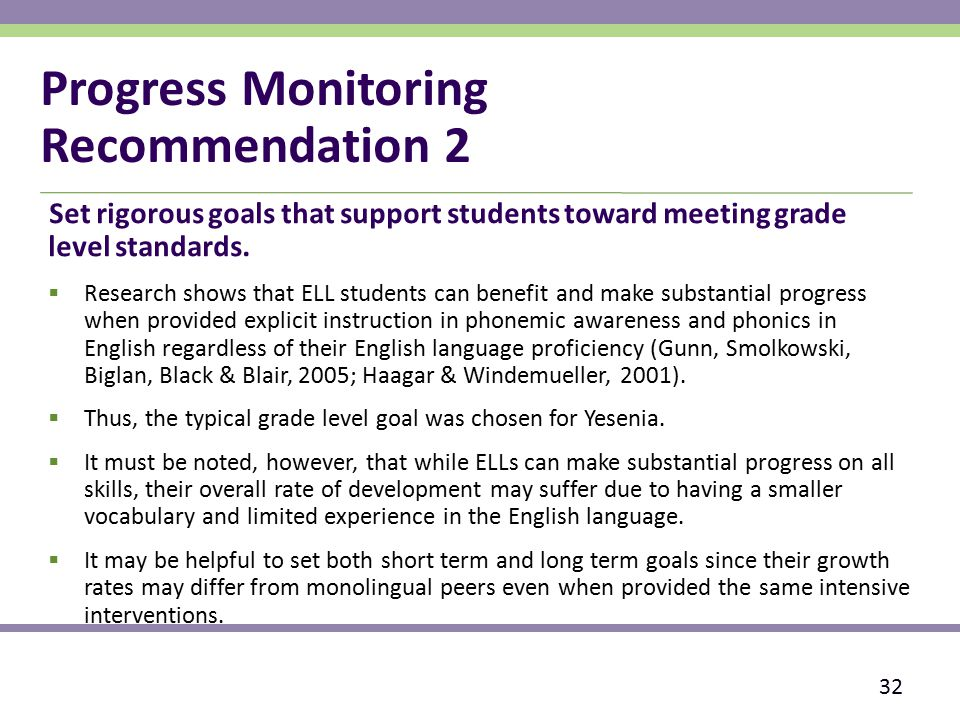 Progress Monitoring Recommendation 2 Set rigorous goals that support students toward meeting grade level standards.