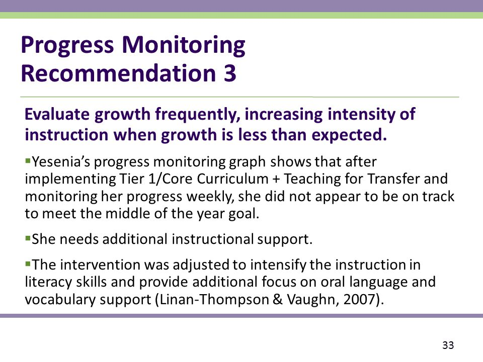 Progress Monitoring Recommendation 3 Evaluate growth frequently, increasing intensity of instruction when growth is less than expected.
