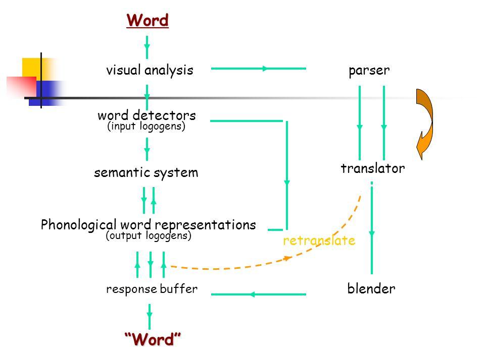 Word visual analysis word detectors (input logogens) semantic system Phonological word representations (output logogens) response buffer Word parser translator blender retranslate