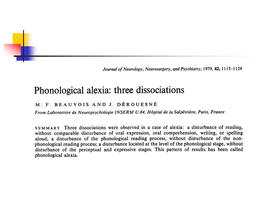 Developmental phonological dyslexia Temple and Marshall (1983) described a case of developmental phonological dyslexia, and Castles and Coltheart (1994) have shown that this form of developmental dyslexia is not uncommon.