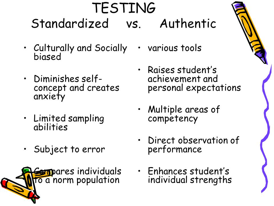TESTING Standardized vs. Authentic Culturally and Socially biased Diminishes self- concept and creates anxiety Limited sampling abilities Subject to e