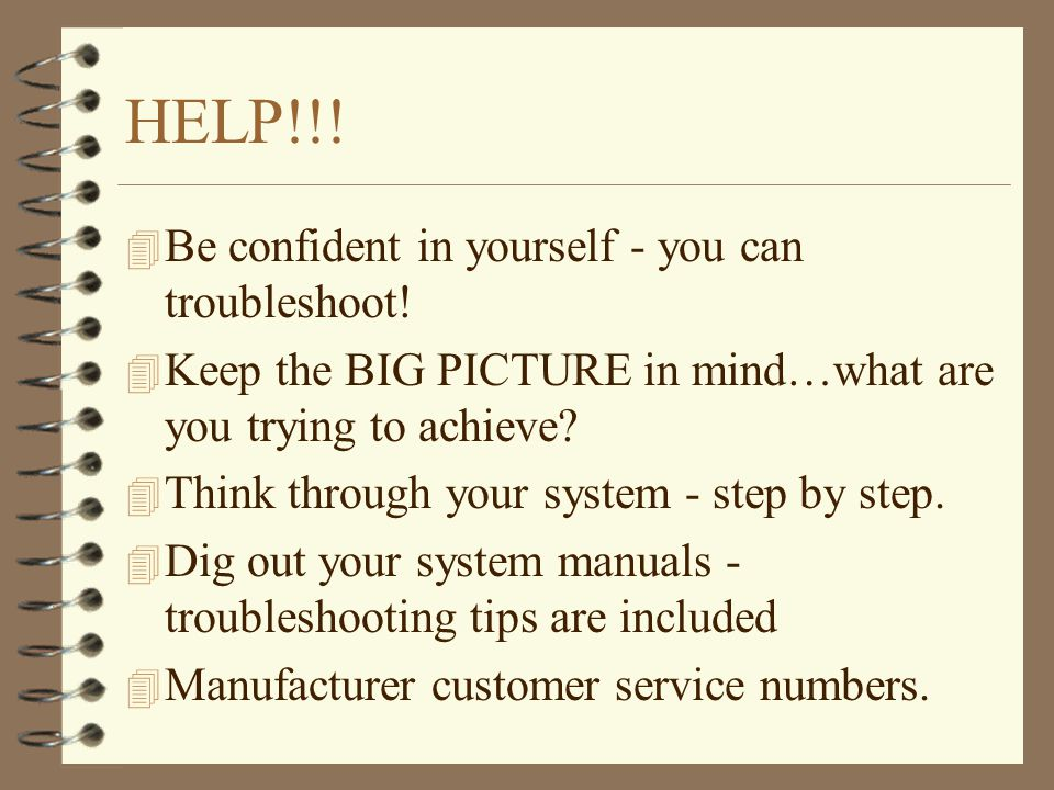 HELP!!. 4 Be confident in yourself - you can troubleshoot.