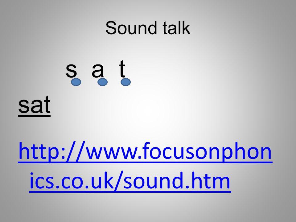 Sound talk s a t http://www.focusonphon ics.co.uk/sound.htm