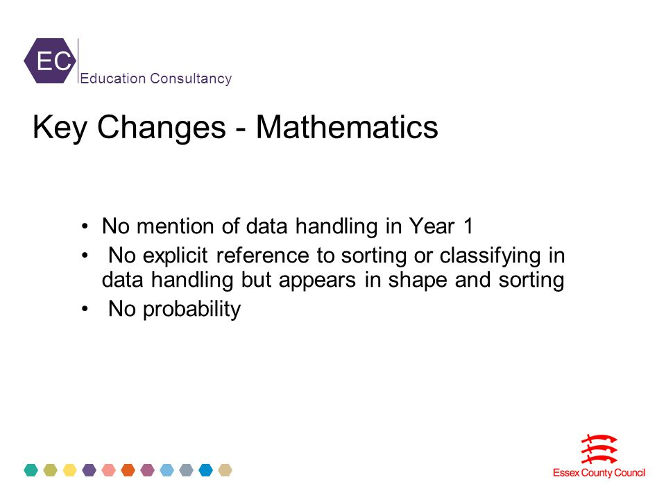EC Education Consultancy No mention of data handling in Year 1 No explicit reference to sorting or classifying in data handling but appears in shape and sorting No probability Key Changes - Mathematics