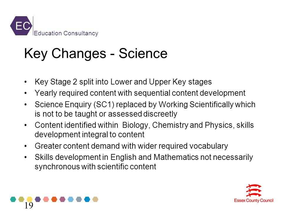 EC Education Consultancy Key Changes - Science Key Stage 2 split into Lower and Upper Key stages Yearly required content with sequential content development Science Enquiry (SC1) replaced by Working Scientifically which is not to be taught or assessed discreetly Content identified within Biology, Chemistry and Physics, skills development integral to content Greater content demand with wider required vocabulary Skills development in English and Mathematics not necessarily synchronous with scientific content 19
