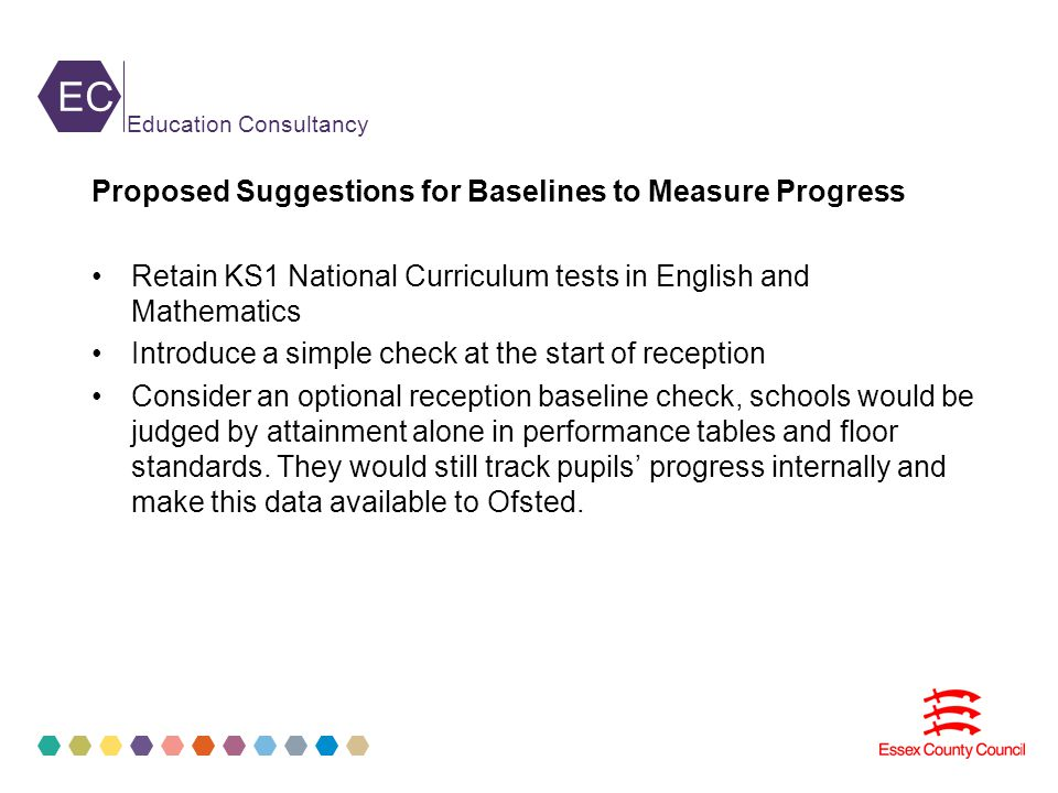 EC Education Consultancy Proposed Suggestions for Baselines to Measure Progress Retain KS1 National Curriculum tests in English and Mathematics Introduce a simple check at the start of reception Consider an optional reception baseline check, schools would be judged by attainment alone in performance tables and floor standards.