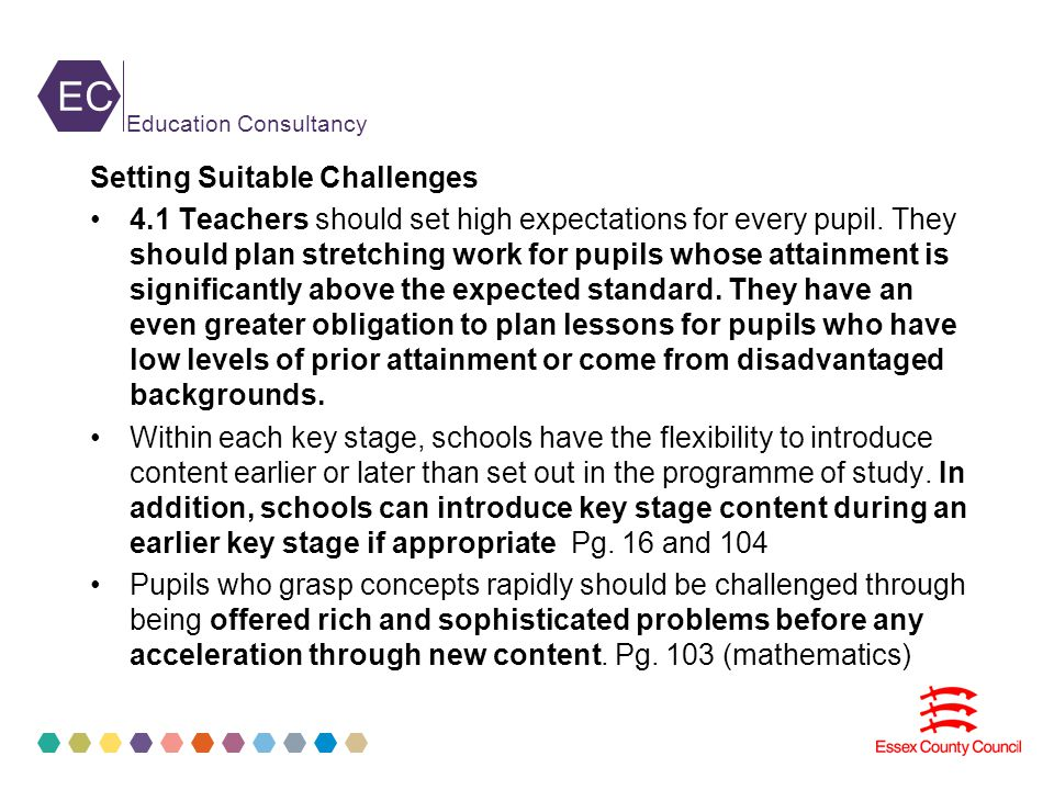 EC Education Consultancy Setting Suitable Challenges 4.1 Teachers should set high expectations for every pupil.
