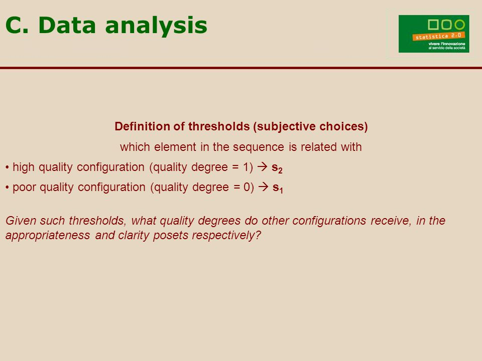 Definition of thresholds (subjective choices) which element in the sequence is related with high quality configuration (quality degree = 1)  s 2 poor quality configuration (quality degree = 0)  s 1 Given such thresholds, what quality degrees do other configurations receive, in the appropriateness and clarity posets respectively.