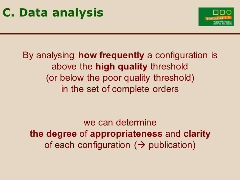 By analysing how frequently a configuration is above the high quality threshold (or below the poor quality threshold) in the set of complete orders we can determine the degree of appropriateness and clarity of each configuration (  publication) C.