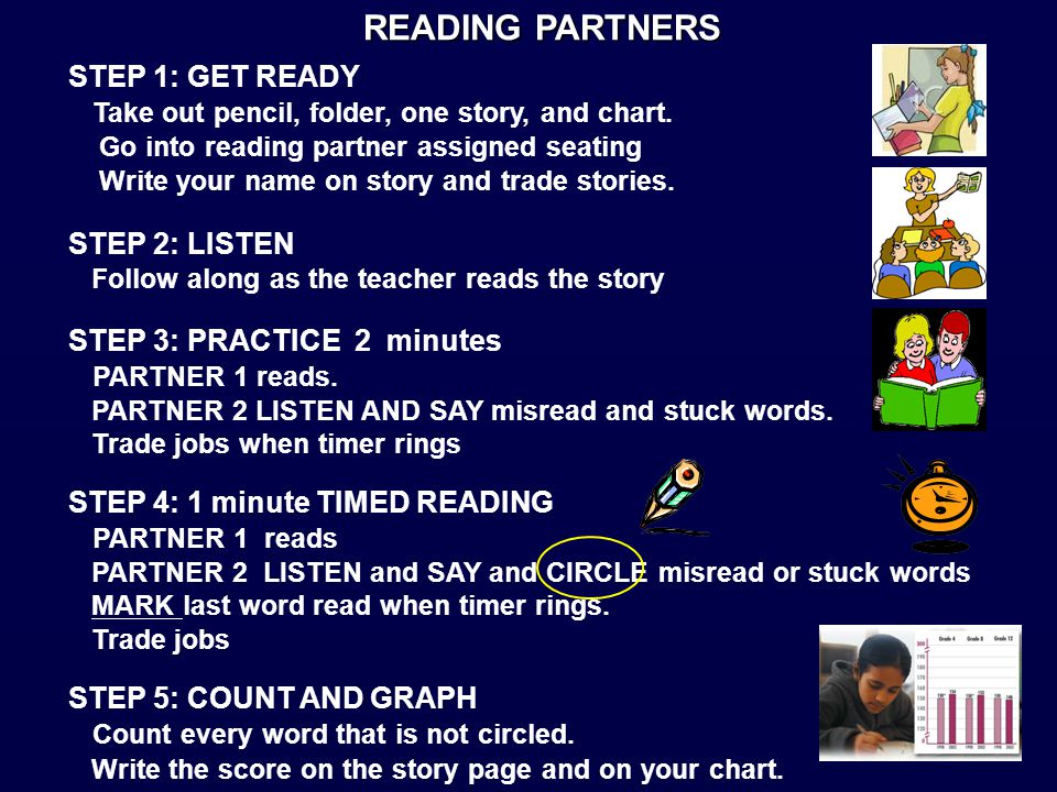 READING PARTNERS STEP 1: GET READY Take out pencil, folder, one story, and chart.