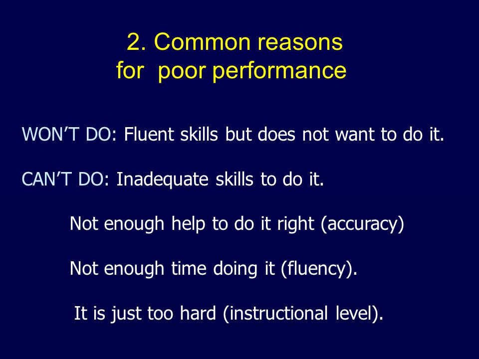 WON'T DO: Fluent skills but does not want to do it. CAN'T DO: Inadequate skills to do it. Not enough help to do it right (accuracy) Not enough time do