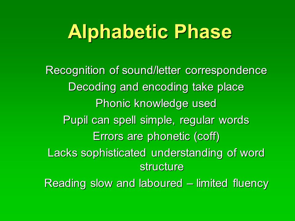 Alphabetic Phase Recognition of sound/letter correspondence Decoding and encoding take place Phonic knowledge used Pupil can spell simple, regular words Errors are phonetic (coff) Lacks sophisticated understanding of word structure Reading slow and laboured – limited fluency