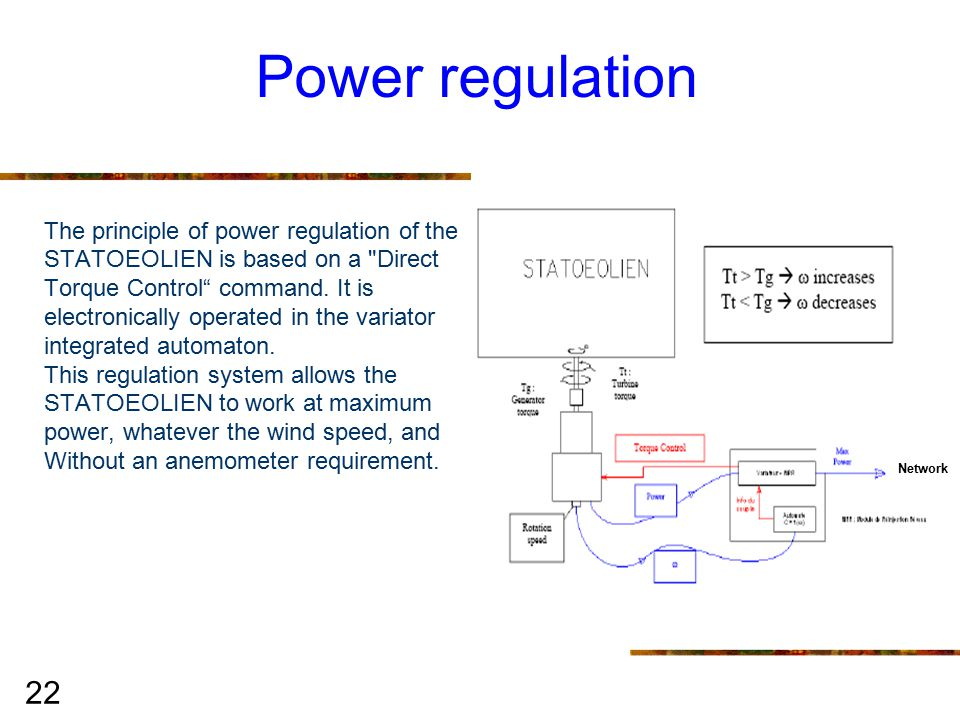 22 Power regulation The principle of power regulation of the STATOEOLIEN is based on a Direct Torque Control command.