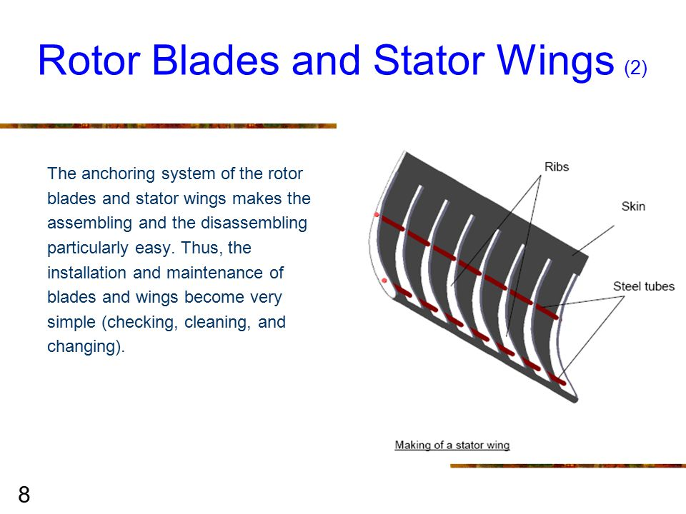 8 The anchoring system of the rotor blades and stator wings makes the assembling and the disassembling particularly easy.