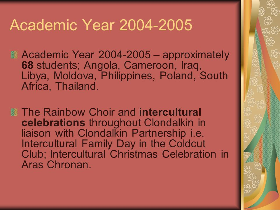 Academic Year 2004-2005 Academic Year 2004-2005 – approximately 68 students; Angola, Cameroon, Iraq, Libya, Moldova, Philippines, Poland, South Africa, Thailand.