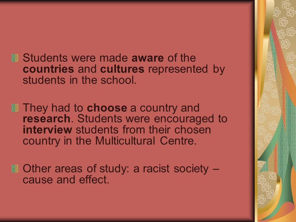 Students were made aware of the countries and cultures represented by students in the school.