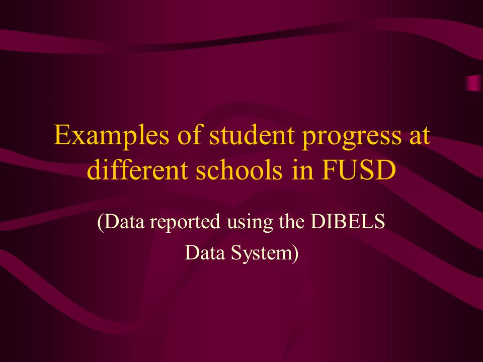 Examples of student progress at different schools in FUSD (Data reported using the DIBELS Data System)