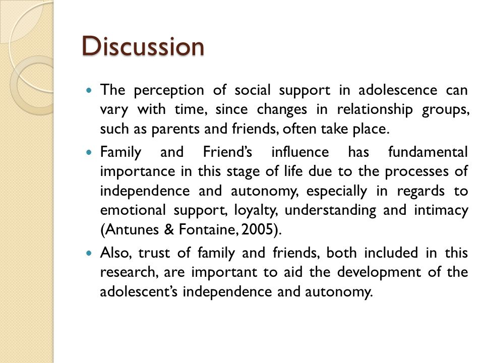 Discussion The perception of social support in adolescence can vary with time, since changes in relationship groups, such as parents and friends, often take place.