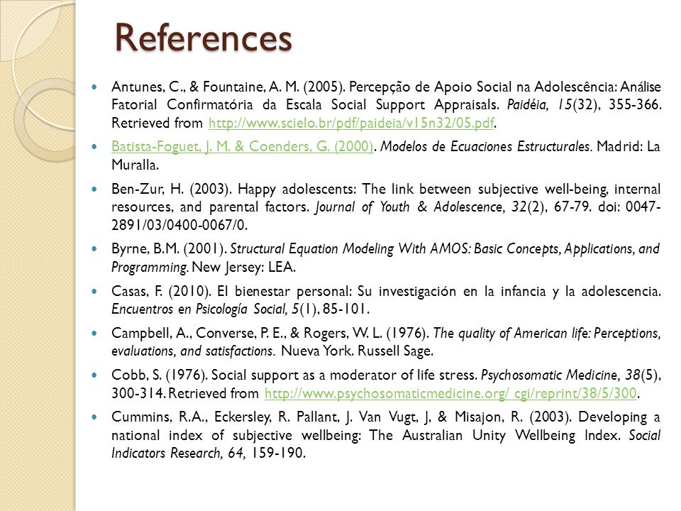 References Antunes, C., & Fountaine, A. M. (2005).